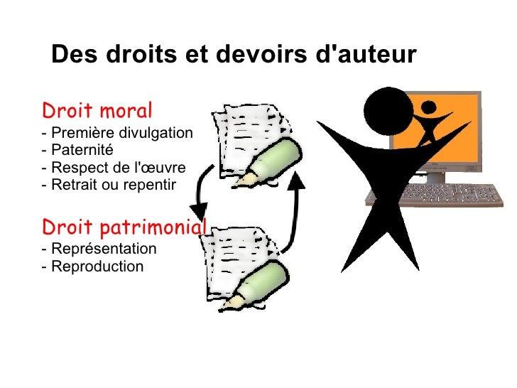 Des droits et devoirs d'auteur Droit moral - Première divulgation - Paternité - Respect de l'œuvre - Retrait ou repentir D...