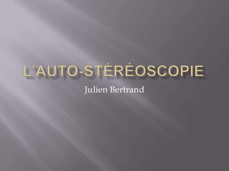 L'auto-stéréoscopie<br />Julien Bertrand<br />