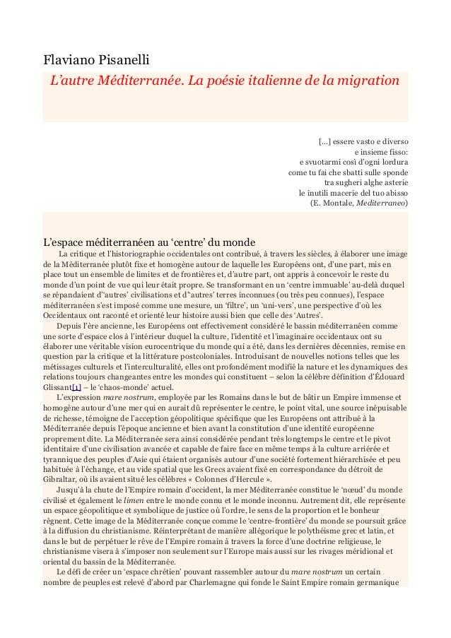 Flaviano Pisanelli  L'autre Méditerranée. La poésie italienne de la migration  […] essere vasto e diverso  e insieme fisso...