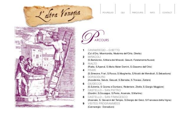 POURQUOI QUI PARCOURS INFO CONTACT 1 CANNAREGIO – GHETTO (Ca' d'Oro, Misericordia, Madonna dell'Orto, Ghetto) 2 MIRACOLI (...