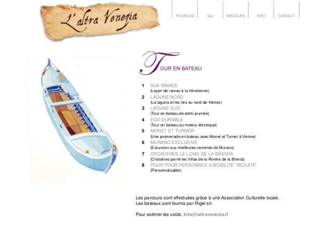 POURQUOI QUI PARCOURS INFO CONTACT 1 AUX RAMES (Leçon de rames à la Vénitienne) 2 LAGUNE NORD (La lagune et les îles au no...