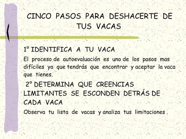 CINCO PASOS PARA DESHACERTE DE TUS VACAS 1° IDENTIFICA A TU VACA El proceso de autoevaluación es uno de los pasos mas difí...