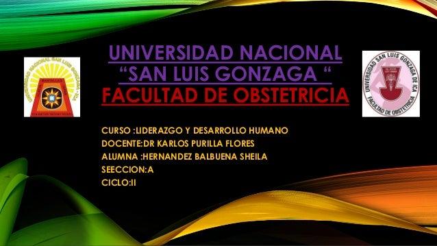 """UNIVERSIDAD NACIONAL  """"SAN LUIS GONZAGA """"  FACULTAD DE OBSTETRICIA  CURSO :LIDERAZGO Y DESARROLLO HUMANO  DOCENTE:DR KARLO..."""