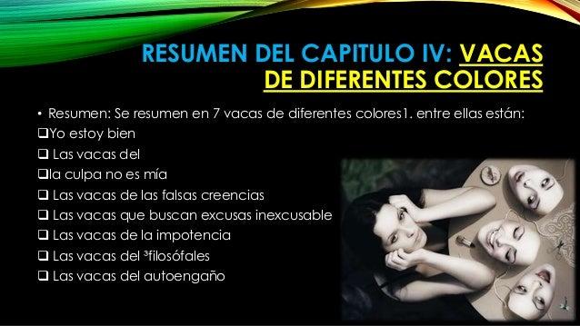 RESUMEN DEL CAPITULO IV: VACAS  DE DIFERENTES COLORES  • Resumen: Se resumen en 7 vacas de diferentes colores1. entre ella...