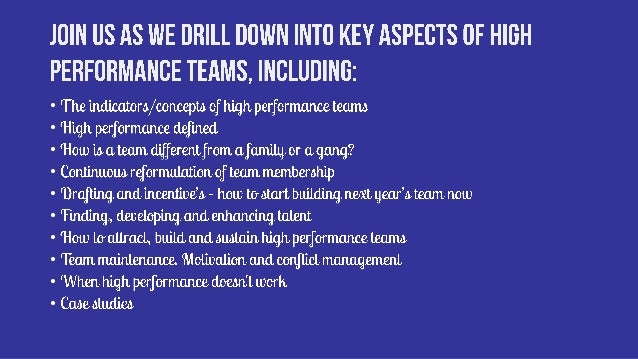 LavaCon15  Dynasty - how to build a high performance team for repeat victories Slide 3