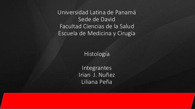 Universidad Latina de Panamá Sede de David Facultad Ciencias de la Salud Escuela de Medicina y Cirugía Histología Integran...
