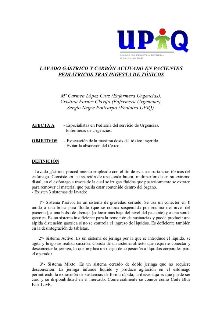 LAVADO GÁSTRICO Y CARBÓN ACTIVADO EN PACIENTES         PEDIÁTRICOS TRAS INGESTA DE TÓXICOS                Mª Carmen López ...