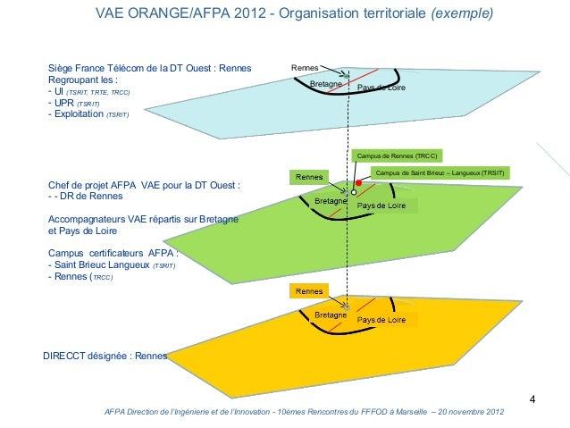 VAE ORANGE/AFPA 2012 - Organisation territoriale (exemple) Siège France Télécom de la DT Ouest : Rennes                   ...
