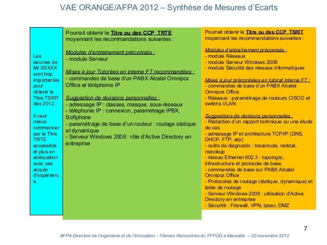 VAE ORANGE/AFPA 2012 – Synthèse de Mesures d'Ecarts                 Pourrait obtenir le Titre ou des CCP TRTE             ...