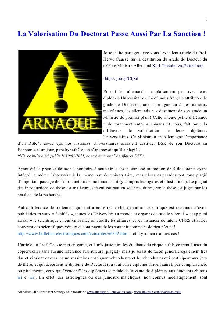 1La Valorisation Du Doctorat Passe Aussi Par La Sanction !                                                            Je s...