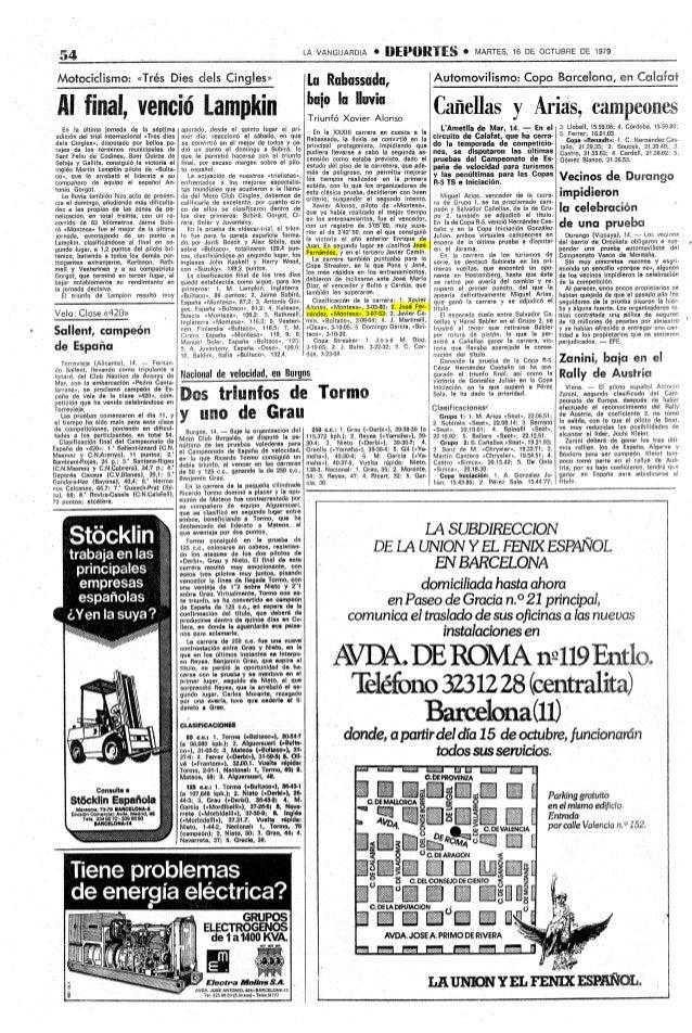 LA VANGUARDIA   *   EIEPORIES0             MARTES, 16 DE OCTUBRE DE 1979 Motocictismo:«TrésDiesdeisCingIes'               ...