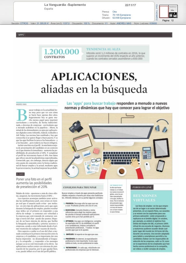 22/11/17La Vanguardia -Suplemento España Prensa: Otra Tirada: 78.195 Ejemplares Difusión: 62.898 Ejemplares Página: 12 Sec...