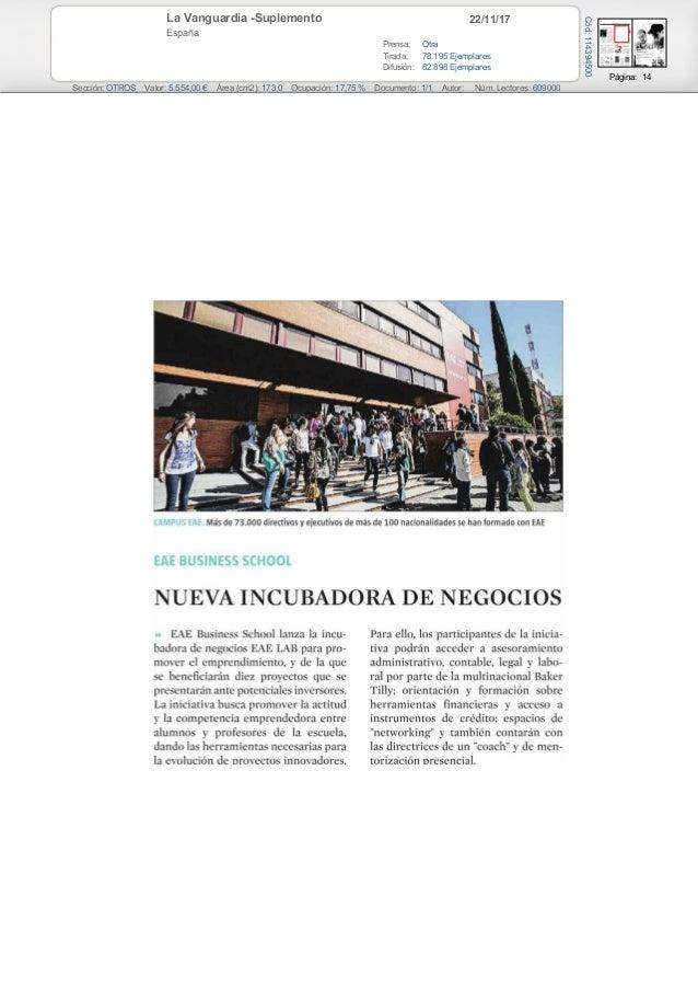 22/11/17La Vanguardia -Suplemento España Prensa: Otra Tirada: 78.195 Ejemplares Difusión: 62.898 Ejemplares Página: 14 Sec...