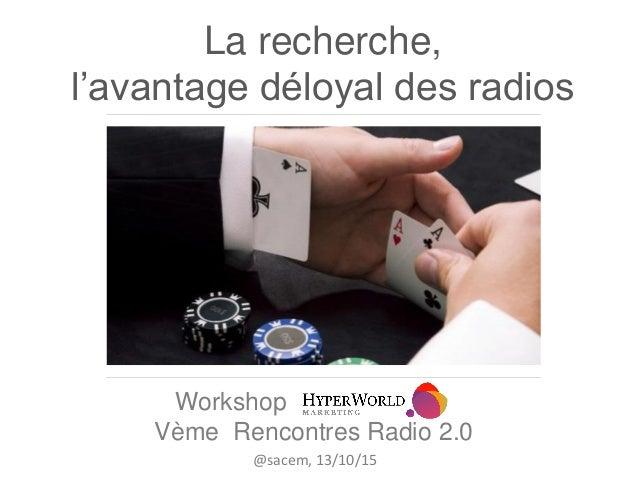 La recherche, l'avantage déloyal des radios Workshop Vème Rencontres Radio 2.0 @sacem, 13/10/15
