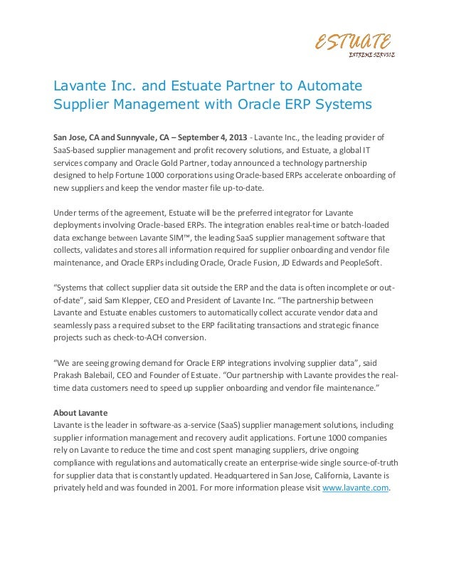 Lavante Inc. and Estuate Partner to Automate Supplier Management with Oracle ERP Systems San Jose, CA and Sunnyvale, CA – ...