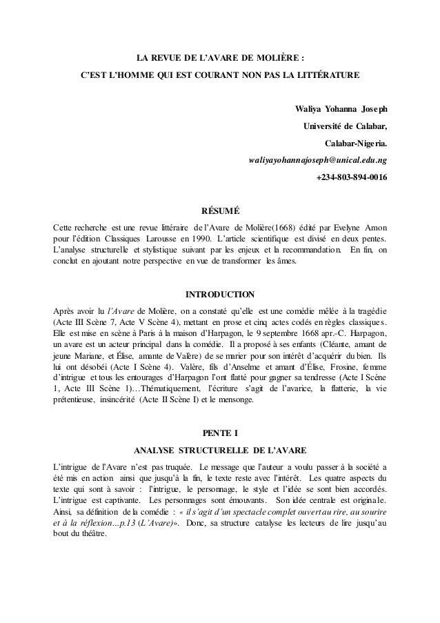 LA REVUE DE L'AVARE DE MOLIÈRE : C'EST L'HOMME QUI EST COURANT NON PAS LA LITTÉRATURE Waliya Yohanna Joseph Université de ...