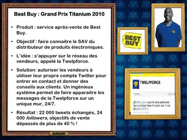 Best Buy : Grand Prix Titanium 2010  • Produit : service après-vente de Best   Buy. • Objectif : faire connaitre le SAV du...