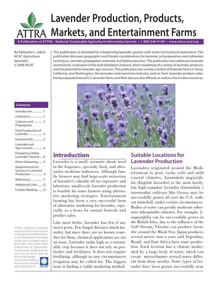 Lavender Production, Products,  ATTRA Markets, and Entertainment Farms   A Publication of ATTRA - National Sustainable Agr...