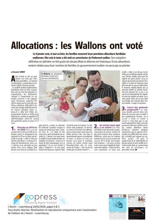 L'Avenir  - Les wallons ont voté  - janv 2018