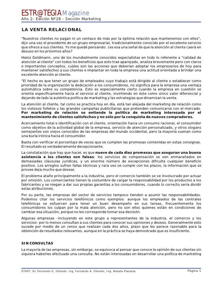 """ESTR@TEGIA Magazine Año 2- Edición Nº28 - Sección Marketing  LA VENTA RELACIONAL """"Nuestros clientes no pagan ni un centavo..."""