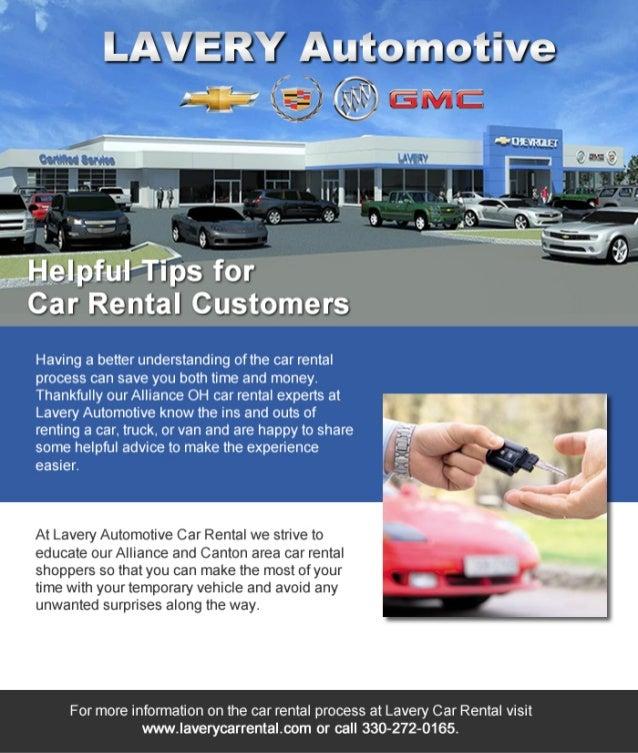 Alliance OH Car Rental Customers Appreciate Lavery Car Rental Helpful Tips