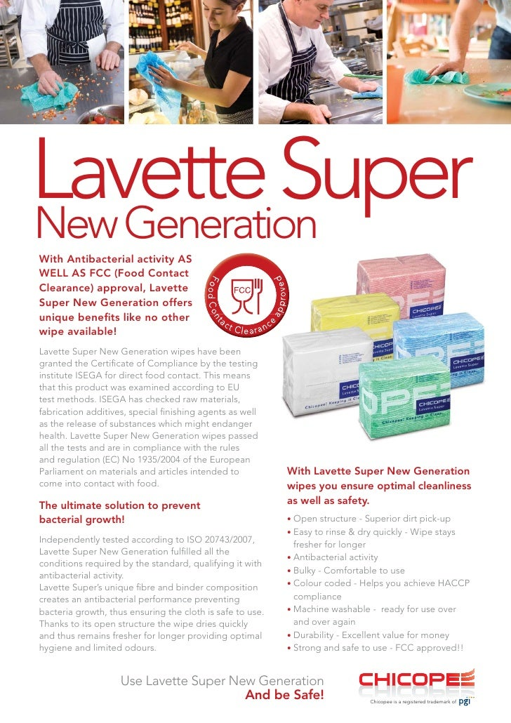 Lavette Super New Generation With Antibacterial activity AS WELL AS FCC (Food Contact Clearance) approval, Lavette Super N...