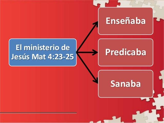 - El ministerio de Jesús Mat 4:23-25 Enseñaba Predicaba Sanaba