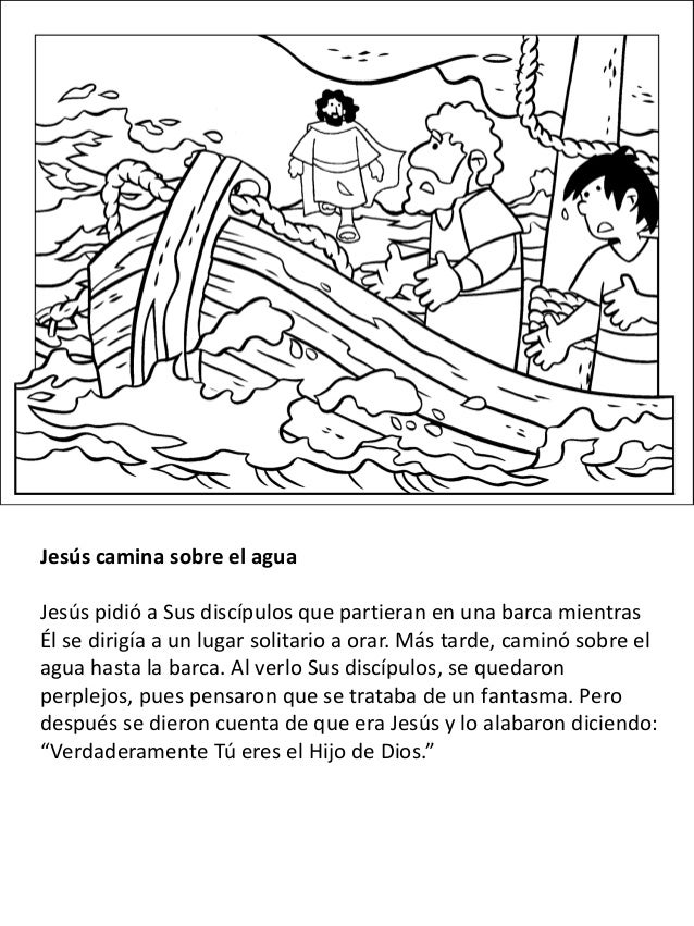 Excelente Jesús Caminando Sobre El Agua Para Colorear Friso ...