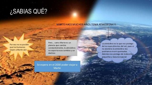 ¿SABIAS QUÉ? MARTE HACE MUCHOS AÑOS TENIA ATMOSFERA!!! La atmósfera es la que nos protege de los rayos directos del sol, p...