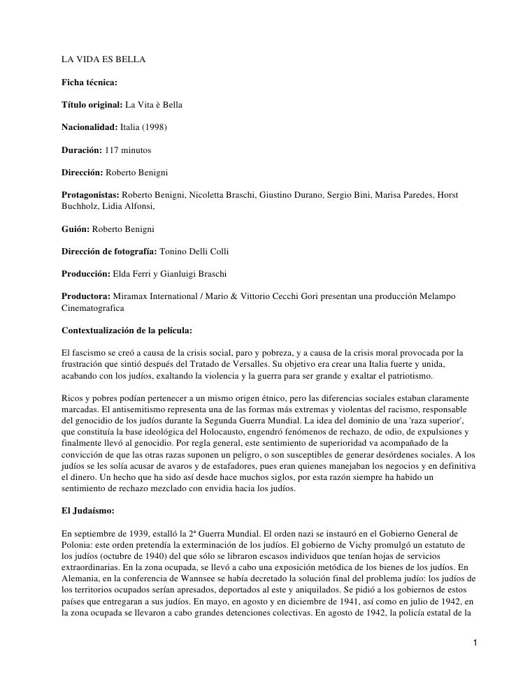 LA VIDA ES BELLAFicha técnica:Título original: La Vita è BellaNacionalidad: Italia (1998)Duración: 117 minutosDirección: R...