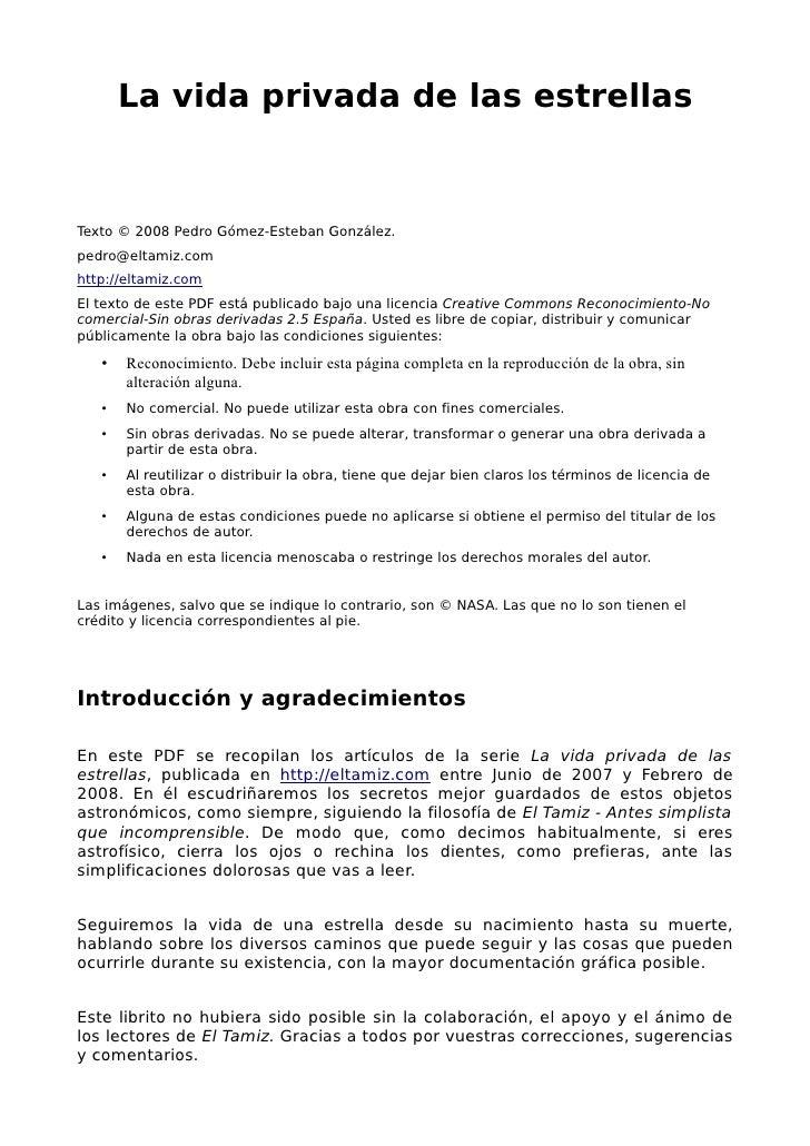 La vida privada de las estrellas   Texto © 2008 Pedro Gómez-Esteban González. pedro@eltamiz.com http://eltamiz.com El text...