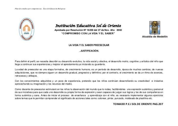Plan de estudios por competencias. Área de Educación Religiosa                                                 Institución...