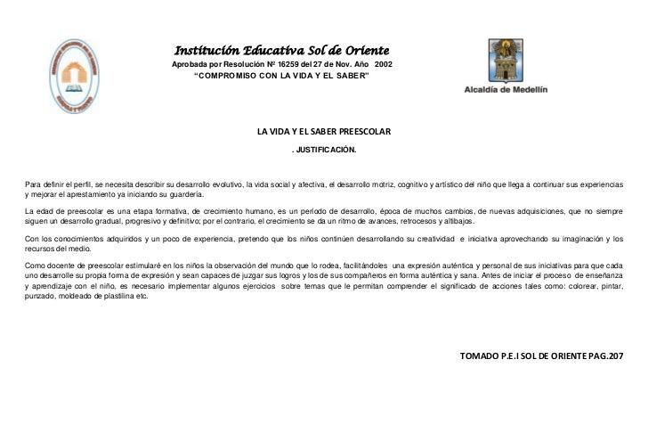 Institución Educativa Sol de Oriente                                              Aprobada por Resolución Nº 16259 del 27 ...
