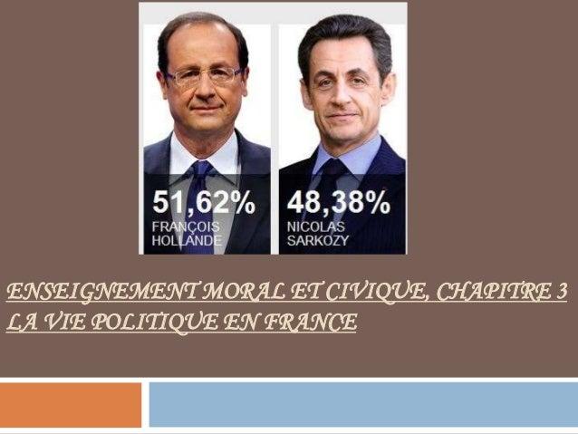 ENSEIGNEMENT MORAL ET CIVIQUE, CHAPITRE 3 LA VIE POLITIQUE EN FRANCE