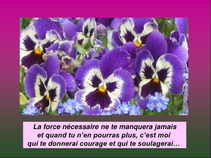 La force nécessaire ne te manquera jamais<br />et quand tu n'en pourras plus, c'est moi <br />qui te donnerai courage et q...
