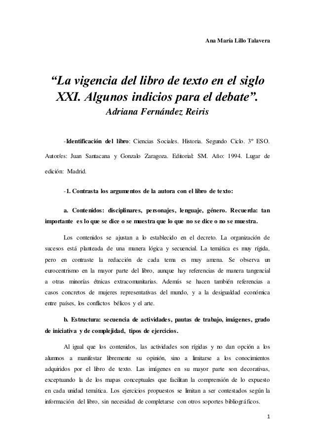 """Ana María Lillo Talavera  1  """"La vigencia del libro de texto en el siglo  XXI. Algunos indicios para el debate"""".  Adriana ..."""