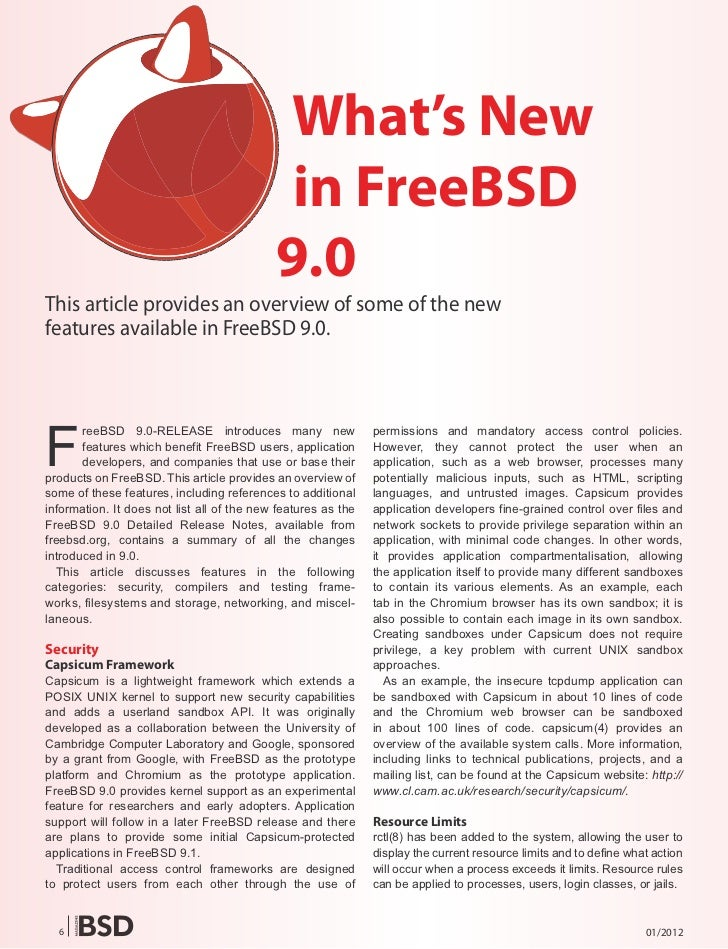 What's New                                             in FreeBSD                                            9.0This artic...