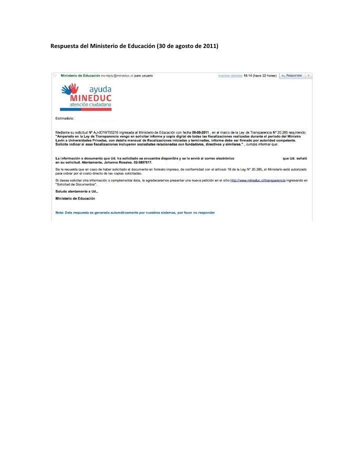 Respuesta del Ministerio de Educación (30 de agosto de 2011)