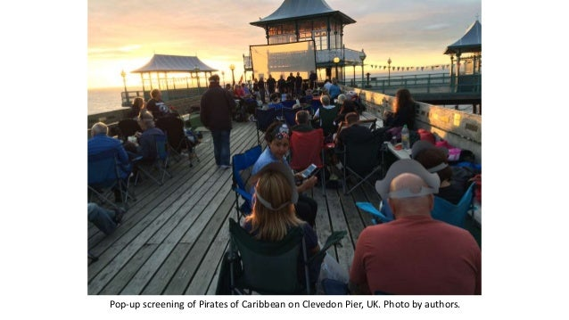 Pop-up screening of Pirates of Caribbean on Clevedon Pier, UK. Photo by authors.