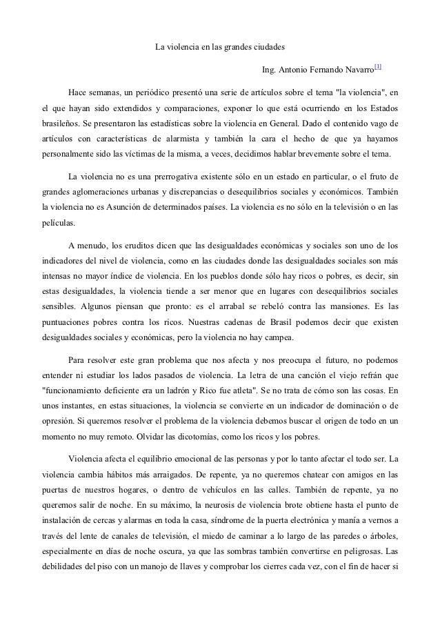 La violencia en las grandes ciudades                                                              Ing. Antonio Fernando Na...