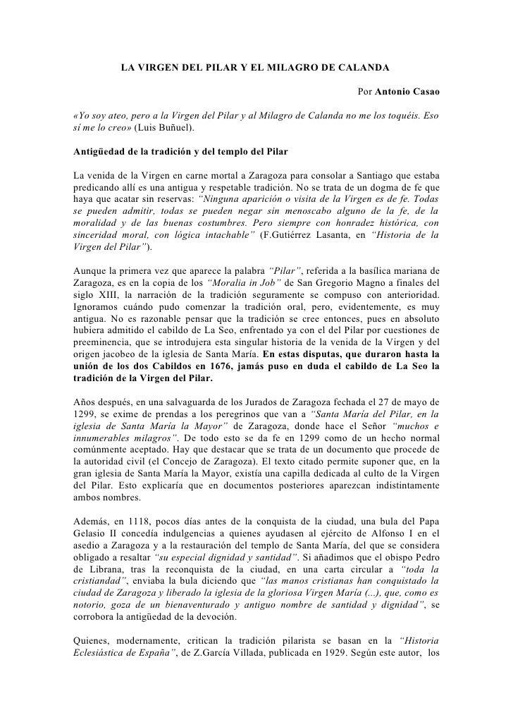 LA VIRGEN DEL PILAR Y EL MILAGRO DE CALANDA                                                                    Por Antonio...