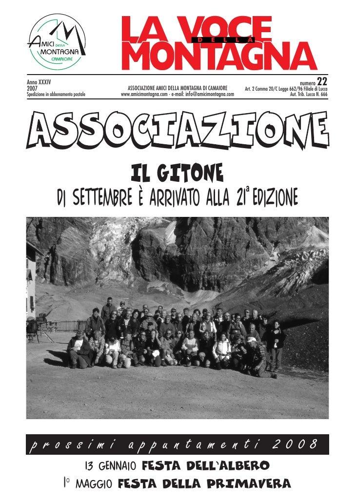 Anno XXXIV 2007                                   ASSOCIAZIONE AMICI DELLA MONTAGNA DI CAMAIORE                           ...