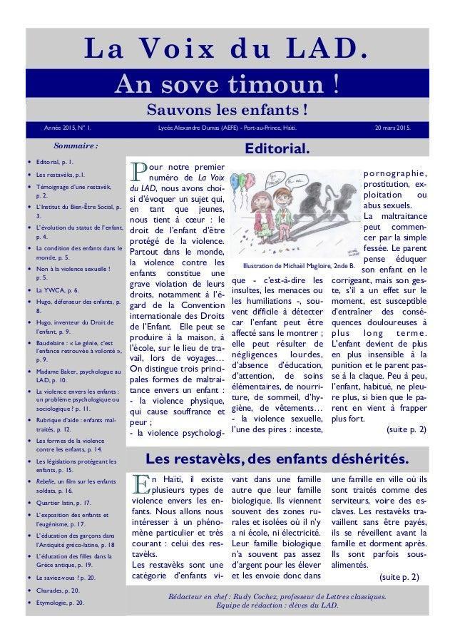 Année 2015, N° 1. Lycée Alexandre Dumas (AEFE) - Port-au-Prince, Haïti. 20 mars 2015. An sove timoun ! La Voix du LAD. Som...