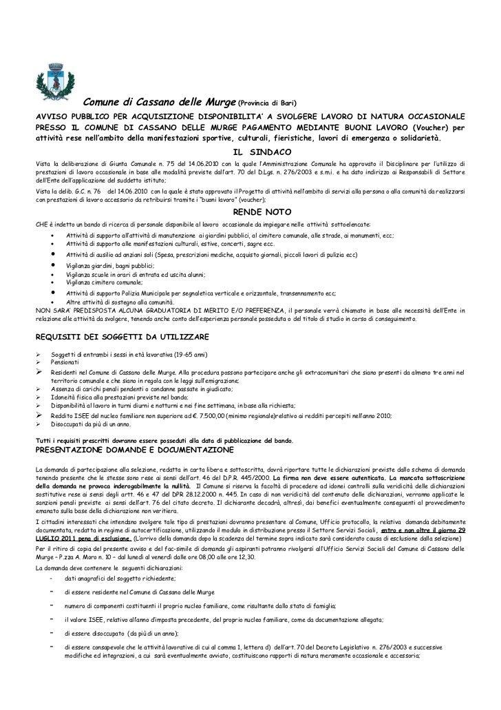 Comune di Cassano delle Murge                                 (Provincia di Bari)AVVISO PUBBLICO PER ACQUISIZIONE DISPONIB...