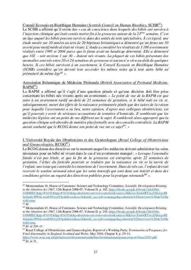 27 Conseil Ecossais en Bioéthique Humaine (Scottish Council on Human Bioethics, SCHB83 ) Le SCHB a affirmé qu'il existe de...