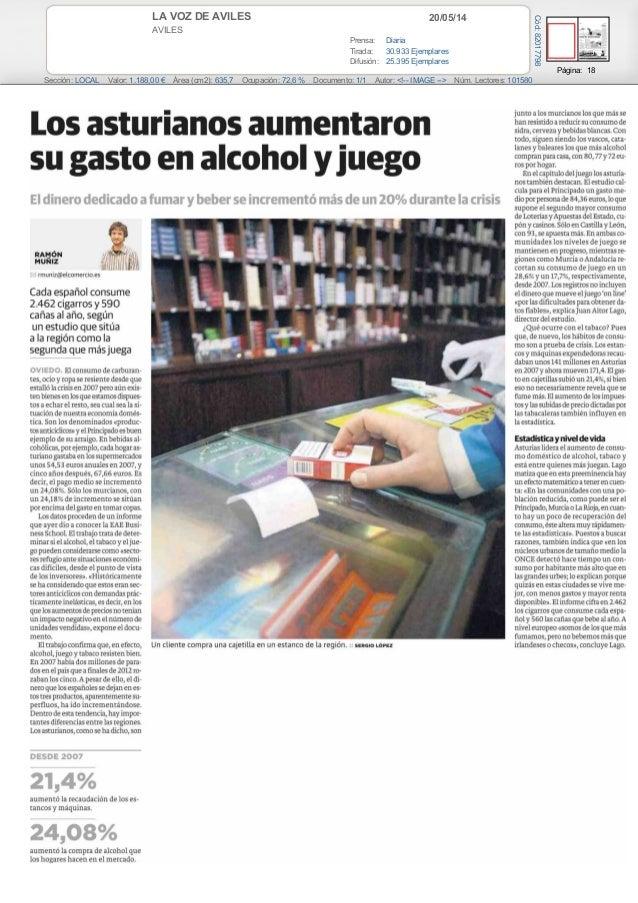 20/05/14LA VOZ DE AVILES AVILES Prensa: Diaria Tirada: 30.933 Ejemplares Difusión: 25.395 Ejemplares Página: 18 Sección: L...