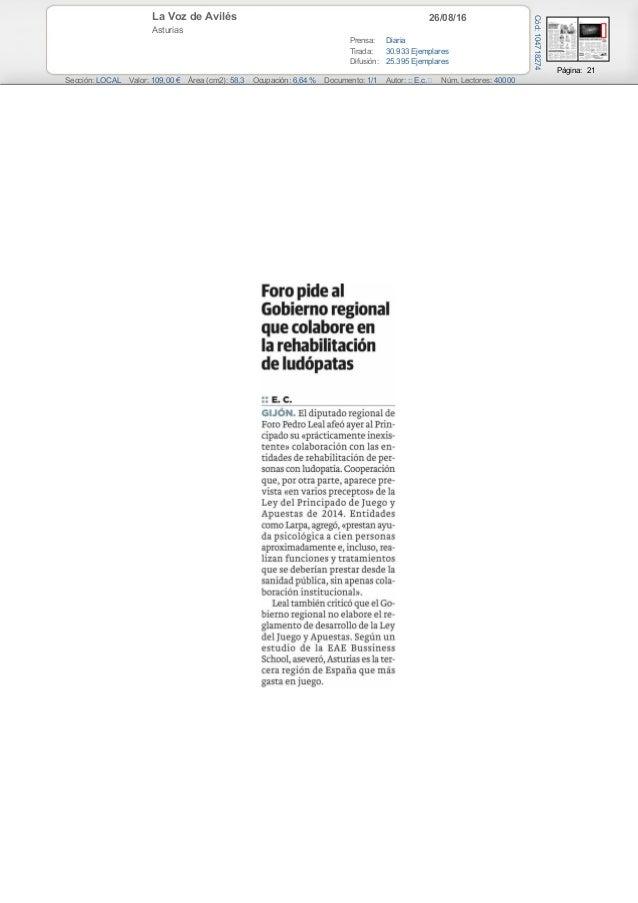 26/08/16La Voz de Avilés Asturias Prensa: Diaria Tirada: 30.933 Ejemplares Difusión: 25.395 Ejemplares Página: 21 Sección:...