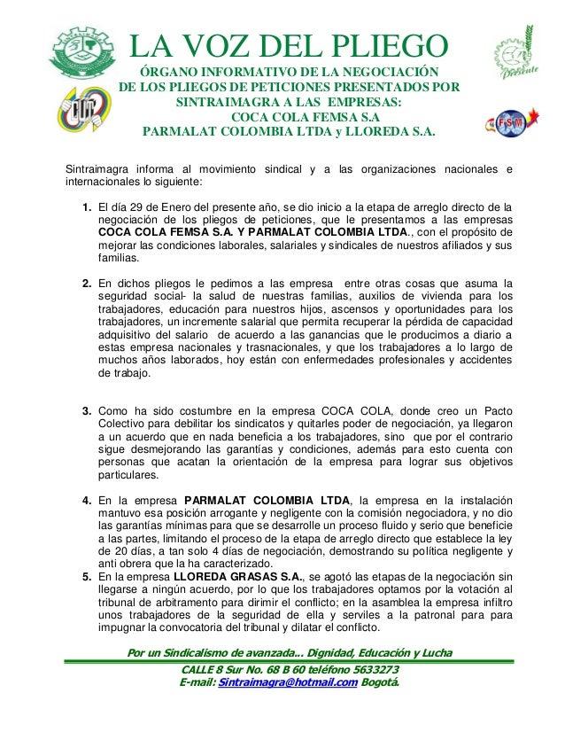 LA VOZ DEL PLIEGO ÓRGANO INFORMATIVO DE LA NEGOCIACIÓN DE LOS PLIEGOS DE PETICIONES PRESENTADOS POR SINTRAIMAGRA A LAS EMP...