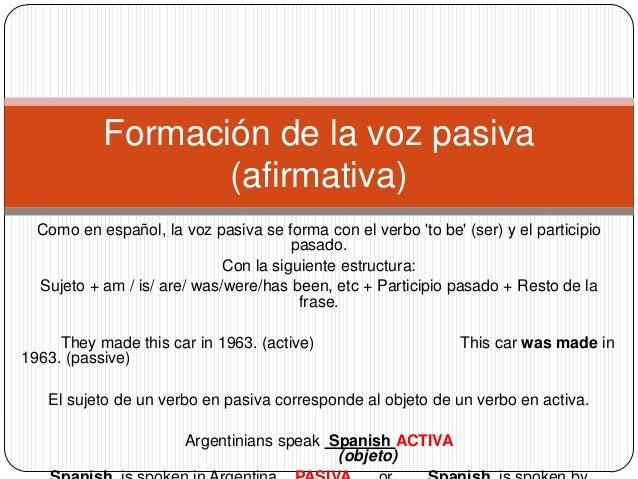 La Voz Pasiva En Ingles