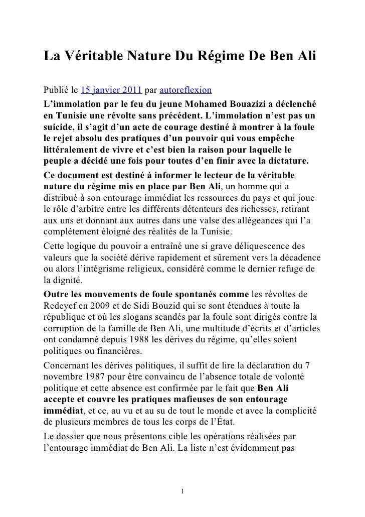 La Véritable Nature Du Régime De Ben AliPublié le 15 janvier 2011 par autoreflexionL'immolation par le feu du jeune Mohame...